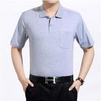 夏季中年男装半袖T恤纯色纯棉中老年T恤男短袖全棉带领有口袋宽松