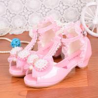 韩版新款女童凉鞋夏季公主女孩子儿童高跟鞋2017中大童蕾丝蝴蝶结