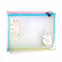康百收纳袋 文具袋 A4学生科目透明拉链网袋 E7150 透明网格袋 一套4个价钱
