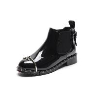 漆皮铆钉短靴女冬秋2018新款粗跟英伦风女鞋韩版百搭加绒马丁靴女 黑色