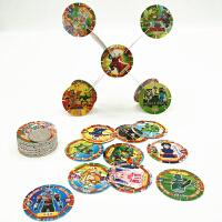 儿童玩具卡牌拼插积木卡带卡槽圆塑料卡圆形卡片奥特曼赛尔号 直径4.5CM图案混塑料积木卡