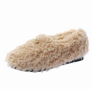 WARORWAR新品YM171-809冬季韩版平底舒适女士乐福鞋毛毛鞋