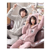 珊瑚绒情侣睡衣秋冬季女士长袖韩版男款家居服套装卡通甜美