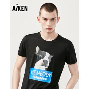 森马旗下森马集团 aiken/爱肯短袖T恤男士夏装新款圆领半袖体恤男潮流动物图案
