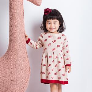 儿童宝宝童装女童秋冬新款蝴蝶结针织连衣裙长袖韩版裙子a字公主裙