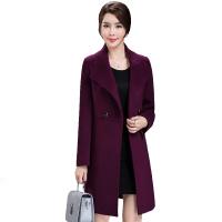 毛呢外套女中长款新款中年女装韩版修身呢子大衣 墨绿色 3XL