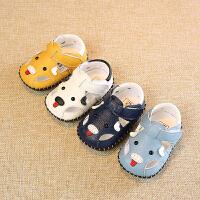 夏季新款新生儿真皮皮鞋6-12个月9男宝宝女婴儿软底鞋子凉鞋0-1岁