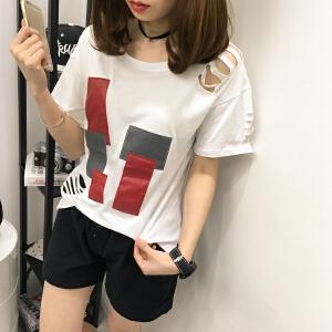 2018夏季新款女士韩版宽松圆领破洞条纹套头短袖学生百搭打底T恤