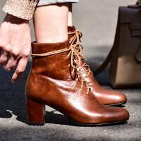 2018新款复古靴子皮女靴秋冬圆头鞋粗跟马丁靴棕色高跟短靴女lkf