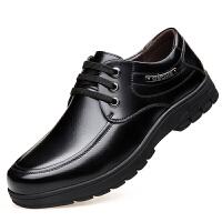 男士商务正装休闲皮鞋男真皮中老年男鞋系带中年爸爸鞋子冬季加绒真皮