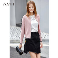 Amii极简学院风棒球领针织外套2019秋新撞色拉链长袖毛织外套