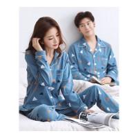 情侣睡衣春秋冬季棉长袖韩版可外穿女士男款开衫棉家居服套装