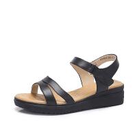 camel骆驼女鞋 2018夏季新款 简约真皮坡跟凉鞋舒适厚底平底鞋妈妈鞋