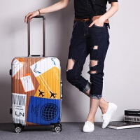 韩版个性铝框拉杆箱万向轮24寸20寸涂鸦行李箱女男学生密码旅行箱