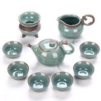开片瓷器哥窑陶瓷整套功夫茶具套装礼盒装家用茶壶茶杯*