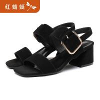 红蜻蜓夏季新款仙女风一字带春季网红学生韩版女鞋平底鞋