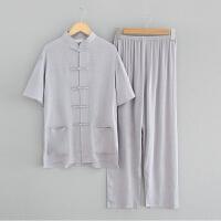 两件套唐装男中老年短袖套装夏季大码棉麻衬衫中国风民族服装