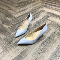 2018春夏季新款牛皮女鞋简约尖头浅口细跟鞋套脚高跟鞋