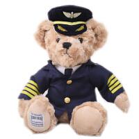 小熊公仔韩版机长飞行员制服泰迪熊公仔空姐熊毛绒玩具熊生日礼物 小号 坐高22厘米