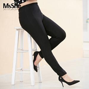 MsShe胖mm修身打底裤2017新款秋装橡筋腰外穿加大码女装M1630390