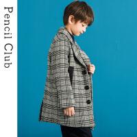 【3件价:129元】铅笔俱乐部童装2019冬季新款男童呢子大衣中大童格纹呢子外套