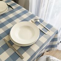 浅蓝色格子防水桌布布艺现代简约餐桌布客厅圆茶几桌布长方形书桌