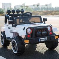 儿童电动车四轮儿童汽车可坐带遥控宝宝电动玩具车摇摆童车越野车 顶配白色+全功能+皮座+发泡轮