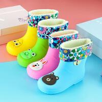 【好架势】韩版儿童雨鞋卡通保暖宝宝雨靴防滑果冻纯色男童女童水鞋