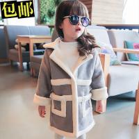 秋冬装新款童装中长款后背兔子麂皮绒外套 可爱女童衣服B8-T
