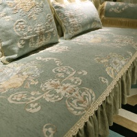 欧式沙发垫组合套装加厚冬季坐垫美式布艺贵妃防滑实木套罩巾定制 维也纳森林【绿】