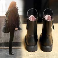 中筒靴2018秋冬新款女短靴真皮粗跟厚底百搭女靴子皮靴棉靴马丁靴SN9657