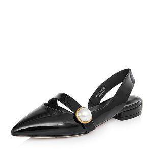 BASTO/百思图2018春季专柜同款牛皮珍珠尖头漆皮方跟女皮鞋DA209AH8