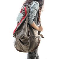 韩版新款复古休闲旅行背包学生书包文艺范帆布包女包潮包双肩大包SN4577