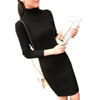 打底毛衣裙女秋冬中长款套头韩版加厚打底衫包臀黑色修身高领毛衣