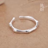 新款韩版戒指女简约竹节尾戒开口气质关节戒女学生个性925银饰品 Y/D 702J0042