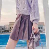 紫色百褶短裙皮裙女2020秋季新款百搭高腰不��t小��子�凸�A字裙