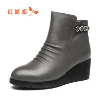 �t蜻蜓真皮女靴冬季新款�r尚坡跟����鞋短筒女靴保暖棉靴