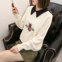 新款娃娃领毛衣可爱女春秋冬季韩版百搭宽松长袖套头针织潮打底衫