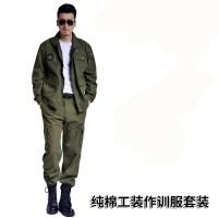 新款特种兵迷彩服套装 男户外野战作训服加厚耐磨纯棉迷彩工作服 军绿上衣+裤子