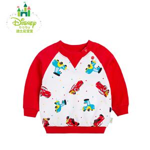 迪士尼Disney儿童卫衣纯棉男童上衣休闲套头卫衣春秋163S818