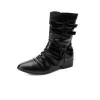 户外尖头长靴男靴男士英伦户外靴短靴男搭扣休闲靴子潮流潮男 黑色