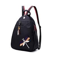 多功能双肩包女韩版大容量胸包时尚民族风防水牛津布背包旅行包包 黑色