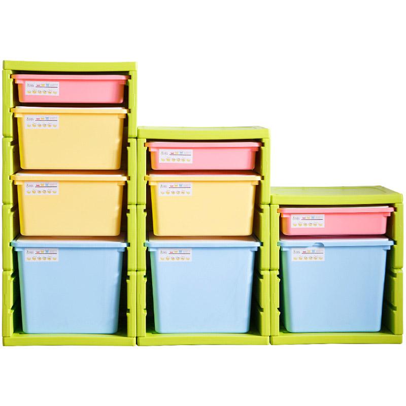 儿童玩具收纳柜衣物收纳架 抽屉式多层宝宝塑料组合柜整理储物箱  2个