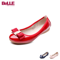 百丽Belle童鞋2018新款女童时装鞋时尚亮面儿童皮鞋柔软舒适蛋卷鞋女生休闲鞋 (7-11岁可选)DE0711