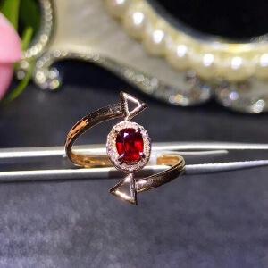 纯天然缅甸红宝石戒指,鸽血红,红宝石艳如烈火