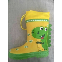原单韩国儿童雨鞋男童黄色恐龙防滑中筒宝宝水鞋雨靴 黄色