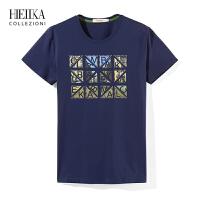 海一家男装2018夏季新品潮流上衣透气时尚圆领字母印花短袖T恤