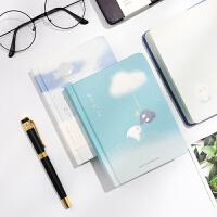 笔记本子创意小清新手账本简约ins风彩页插画少女心学生日记本