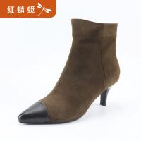 【红蜻蜓618开门红、领�患�100】金粉世家 红蜻蜓旗下 冬新款靴子时尚马丁靴加绒棉鞋真皮
