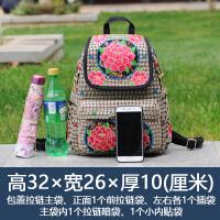 2018新款民族风绣花包包刺绣帆布休闲旅行学生书包女士双肩包背包